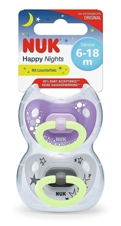 silicona 18 meses color azul 2 unidades con caja para chupete 6 NUK Happy Nights Chupete con efecto luminoso
