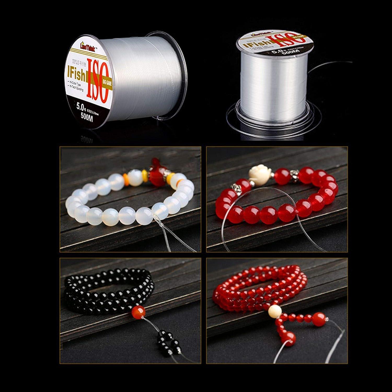 cord/ón el/ástico invisible para colgar adornos de Navidad y pulseras 2 rollos de hilo de nailon transparente Cuerda de hilo invisible de nailon de 500 m