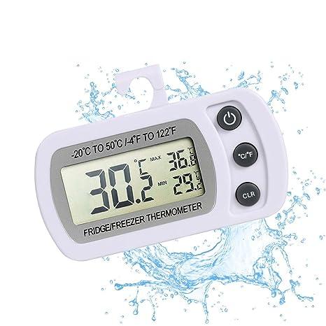 Termómetro digital para neveras, con pantalla LCD, resistente al agua, con