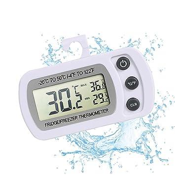 Termómetro digital para neveras, con pantalla LCD, resistente al agua, con gancho para colgar, función de memoria con registro de máximas y mínimas: ...