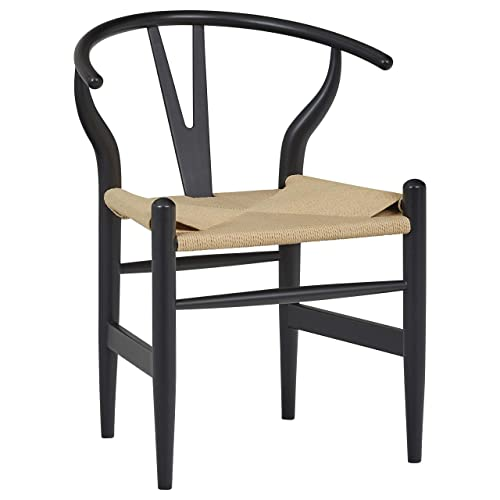 Stone Beam River Mid-Century Dining Chair, 29.1 H, Black