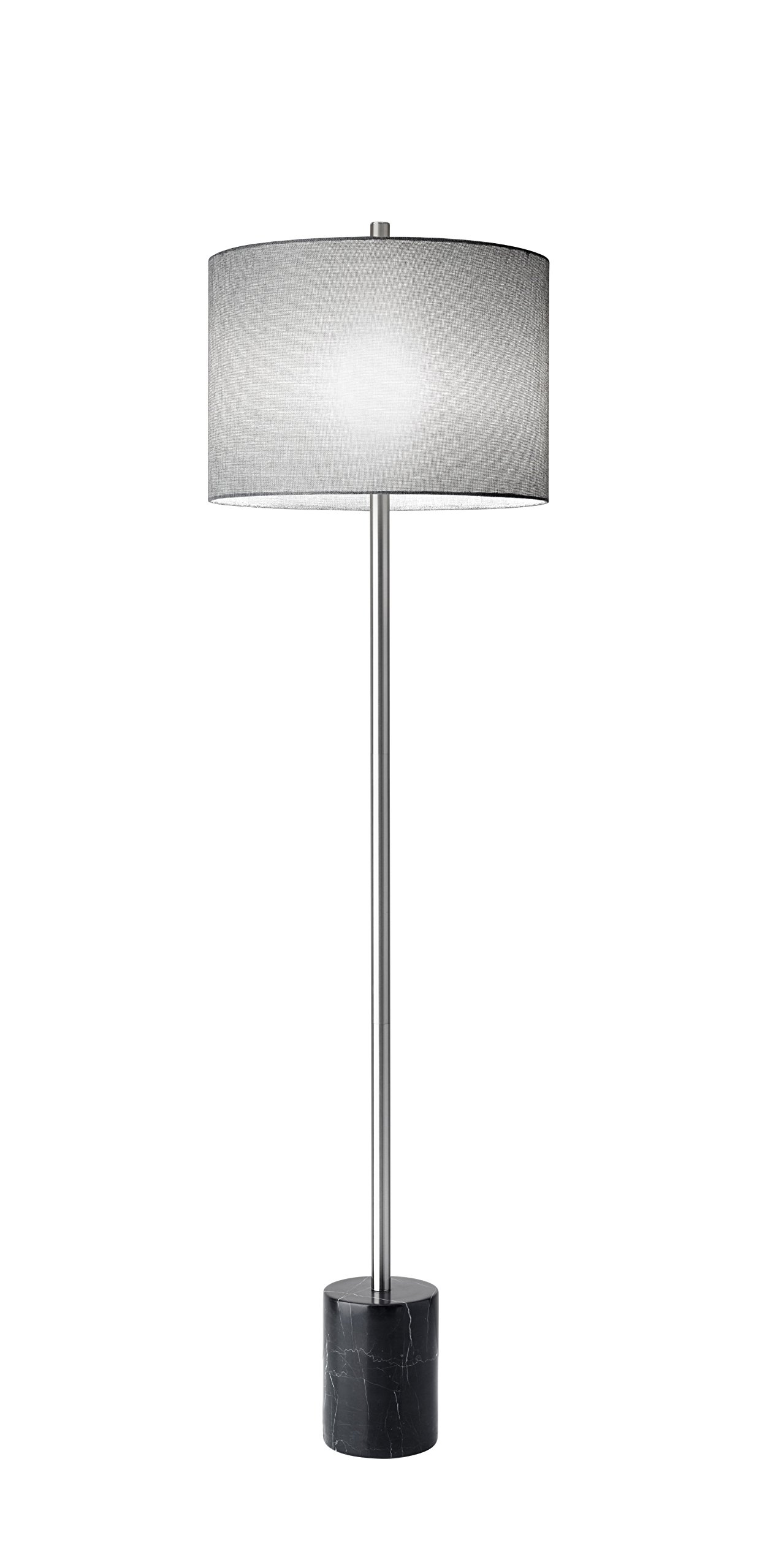 "Adesso 5281-01 Blythe 62"" Floor Lamp, Black, Smart Outlet Compatible - This lamp pairs sleek brushed steel with a chunky black marble base for a sophisticated, yet contemporary look A tweed-like grey textured shade finishes off the look 3-Way Rotary Socket Switch / Smart outlet compatible - living-room-decor, living-room, floor-lamps - 711eAUNjBvL -"