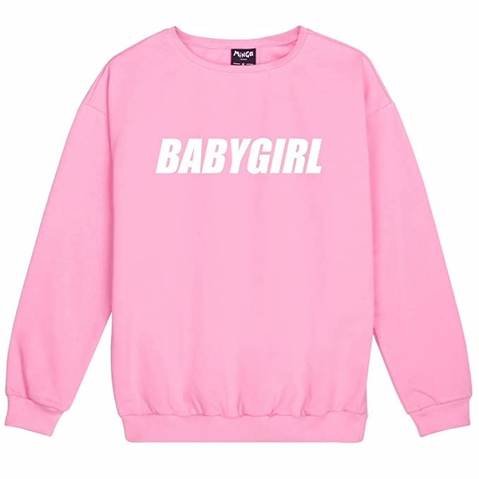 Minga London Babygirl Sweater Top Womens Fun Tumblr Cute Pink at Amazon Womens Clothing store: