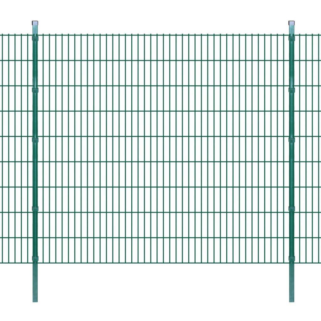 Festnight 2D Pannello di Recinzione Giardino Pali Recinzione con paletti 2008x1830 mm 10m verde