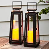 Decorative Solar Candle Lanterns - 11 Inch, Black Metal with Glass, Waterproof Flameless Pillar Candles, Dusk to Dawn…