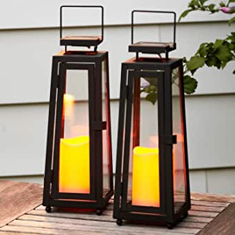 Decorative Solar Candle Lanterns - 11 Inch, Black Metal with Glass, Waterproof Flameless Pillar Candles, Dusk to Dawn Timer, Flickering LED Lights, Rustic Vintage Patio Decor - Set of 2