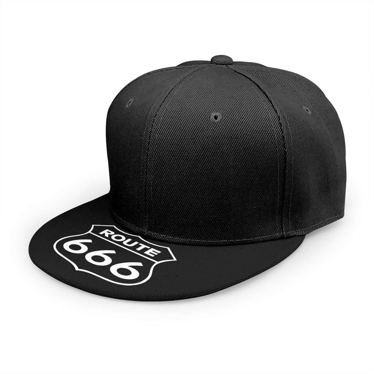 Adjustable Women Men Route 666 Print Baseball Cap Flat Brim Cap Hats Hip Hop Snapback Sun Hat Boys Girls Black by Apolonia