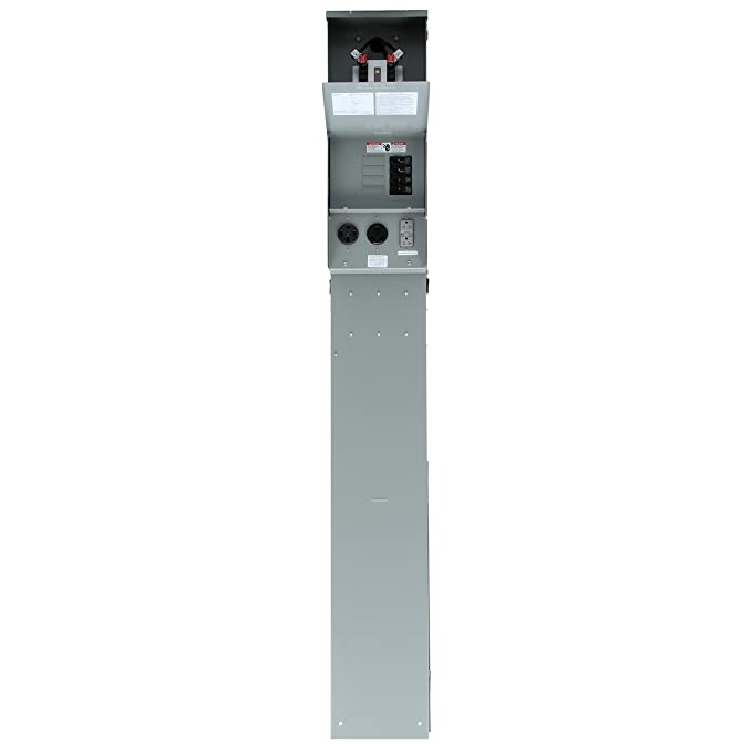 Siemens TL137NP Talon Temporary Power Outlet Panel Pedestal with a 20, 30, and 50-Amp Receptacle Installed Includes a Ring Type Meter Socket Provision