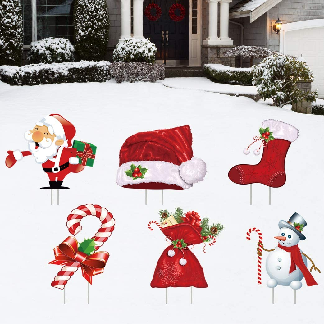 Christmas Decorations Yard Signs 6 Pack Santa Claus and Snowman, Lawn Garden Party Outdoor Stake, Large Candy Cane Family Friendly Xmas Ornaments for Holiday Winter Wonderland Waterproof Signs 6Pcs