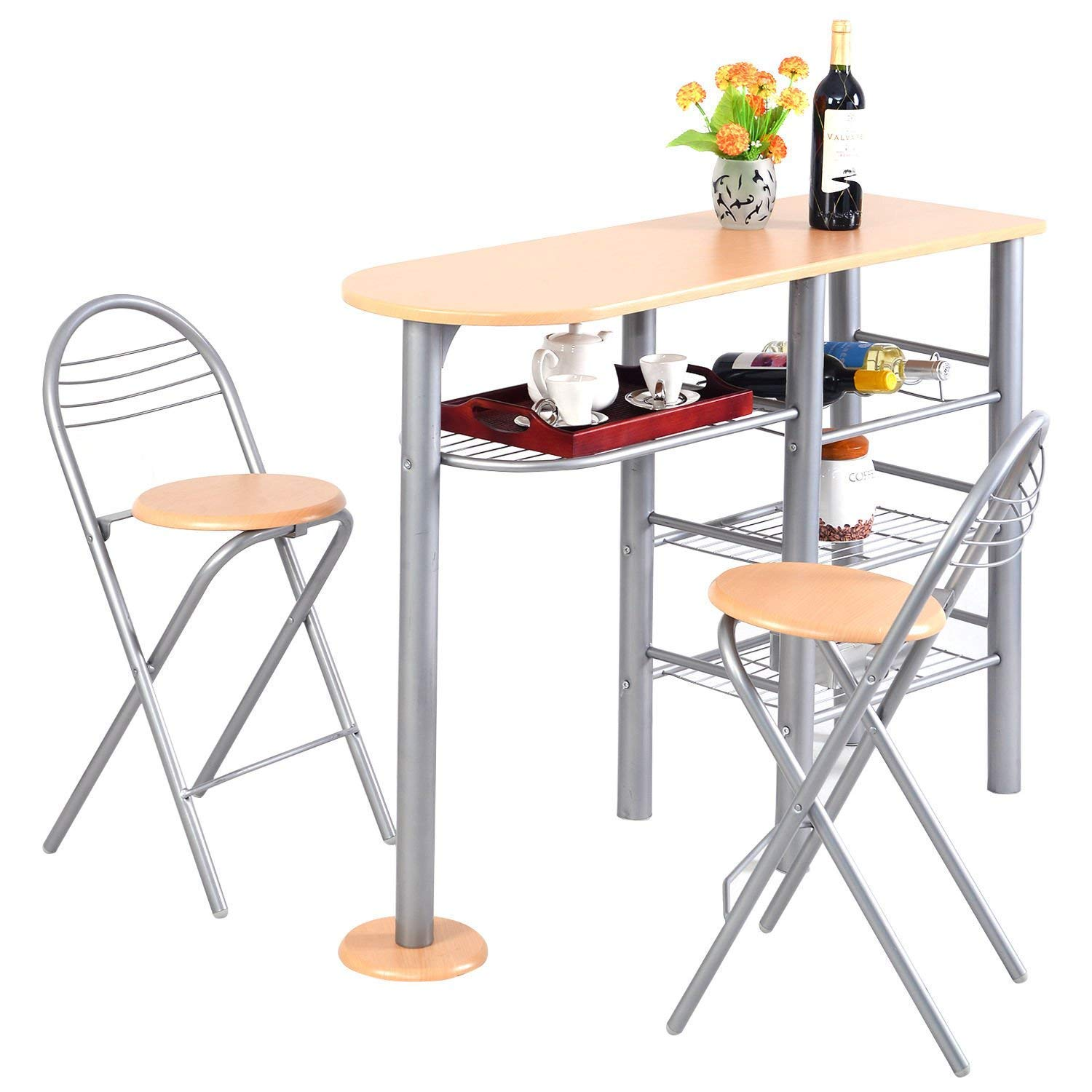 Giantex 3 Piece Pub Dining Set, 3-Tier Metal Storage Shelves with Wine Rack Design, 2 Folding Chairs for Easy Storage, Counter Height Dining Table Set for Kitchen, Dining Room, Living Room
