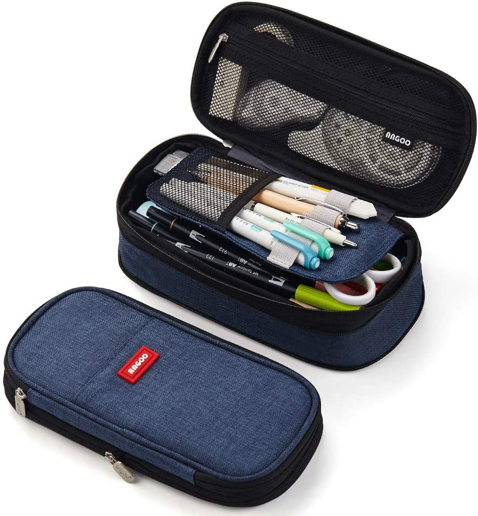 ANGOOBABY Foldable Pencil Case Big Capacity Pencil Pouch Large Pencil Bag Makeup Bag for Teen School (Navy)