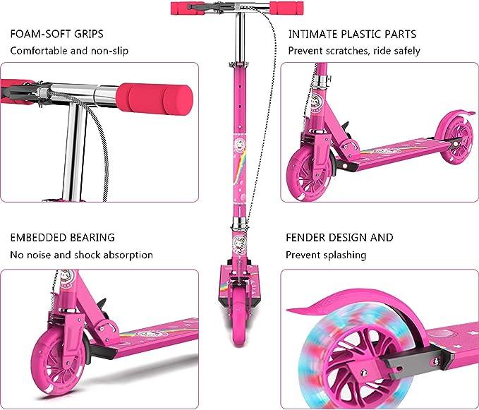 YXX-Scooter Schwarz Erwachsene Tretroller mit Disc Handbremse Faltbare Roller for Kinder ab 8 Jahre nach Oben H/öhenverstellbar Unterst/ützt 100Kg