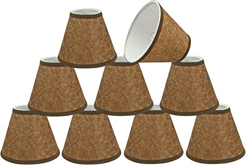 Aspen Creative 32117-9 Small Hardback Empire Shape Chandelier Clip Set 9 Pack , Transitional Design in Dark Brown, 6 Bottom Width 3 x 6 x 5 Lamp Shade