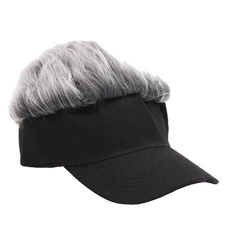 b73c536b164 ALWLj Baseball Cap Wig Cap Women Men Fake Flair Hair Visor Sun Hat Toupee  Funny Hair