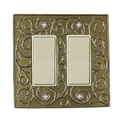 Meriville French Scroll 2 Rocker Wallplate, Double Switch Electrical Cover Plate, Aged Gold: Home Improvement