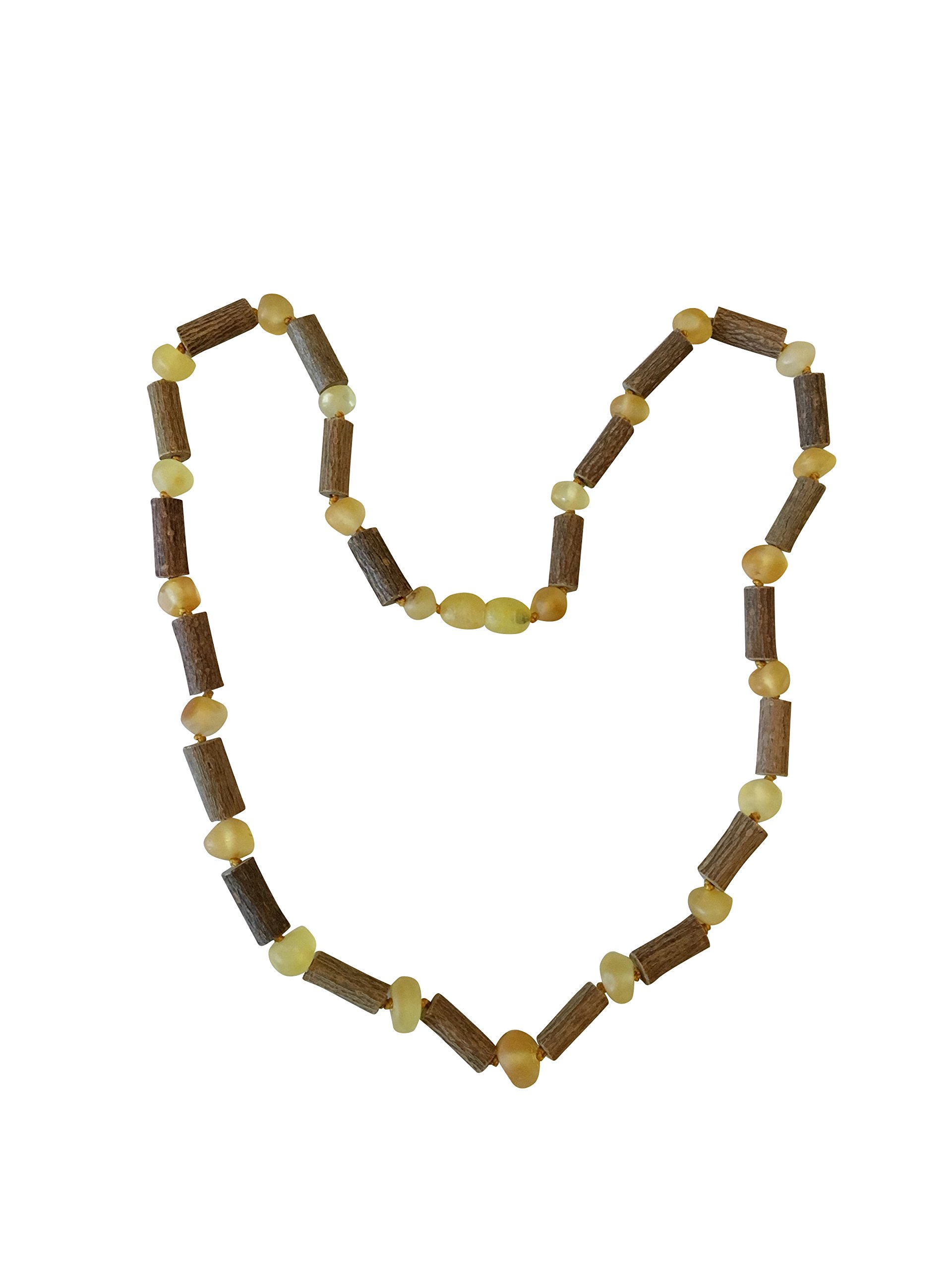 Baltic Amber and Hazelwood Necklace. Colic, Reflux and Teething. Individually Knotted. for Babies and Toddlers. (Hazelwood/Raw Lemon)