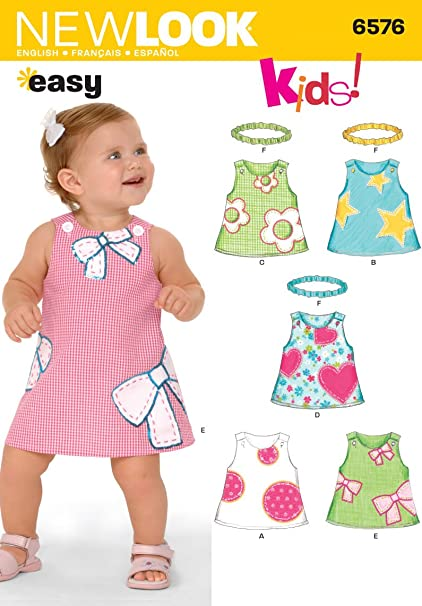 Amazon New Look Sewing Pattern 6576 Babies Dresses Size A Nb