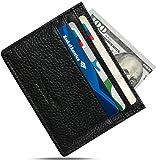 URAQT Leather Slim Wallet, Thin Minimalist Front Pocket Wallets for Men Credit Card Case ( Black )