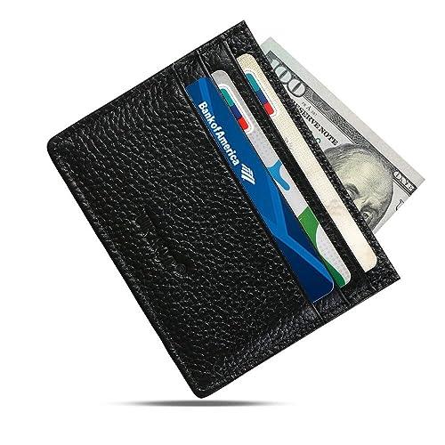 genuine leather slim wallet minimalist front pocket wallet leather money clip wallet card holders - Leather Credit Card Holder