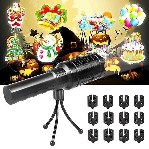 Luces Proyector Navidad LED, Kainuoa Proyector Halloween Lámpara 2 en 1 de Proyección Juguete para Niño con 12 Diapositivas y Trípode, Lámparas ...