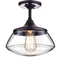 Claxy Ecopower Vintage Metal & Glass Ceiling Light 1-Lights Pendant Lighting Chandelier Oil-Rubbed Bronze