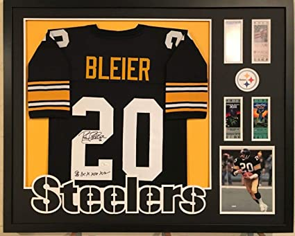 a163faed53b Image Unavailable. Image not available for. Color: FRAMED ROCKY BLEIER  AUTOGRAPHED SIGNED INSCR PITTSBURGH STEELERS JERSEY ...
