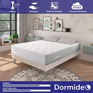 DORMIDEO - Colchón Viscoelástico City Luxury - Fibras ecológicas Cashmere, Antibacterias, 135x190cm: Amazon.es: Hogar