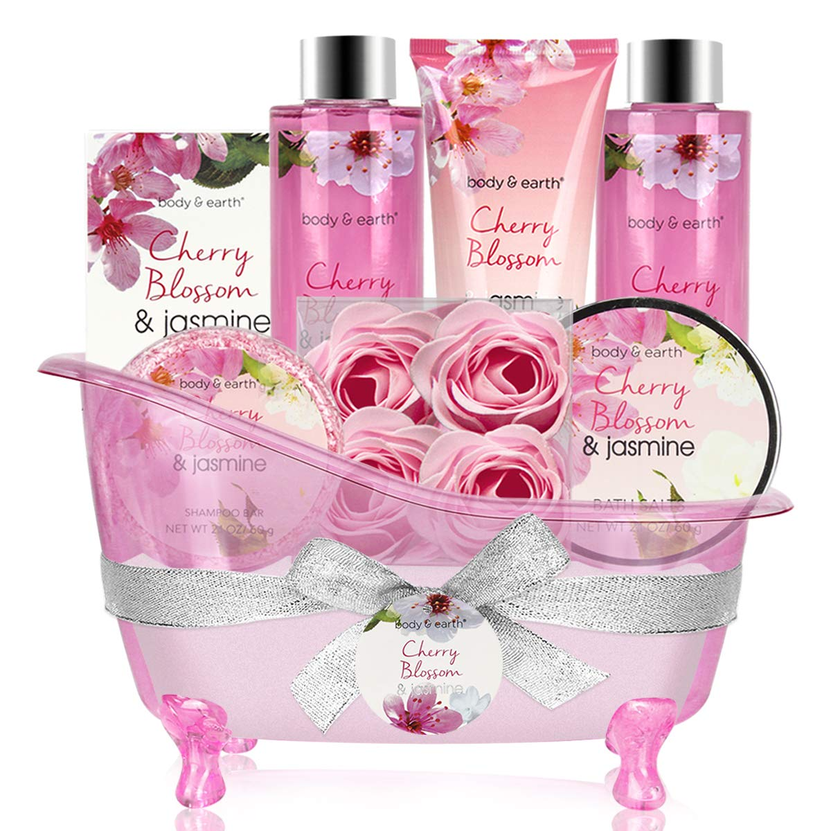 Bath Set for Women - Body&Earth 8 Pcs Gift Basket with Cherry Blossom & Jasmine Scent, Includes Bubble Bath, Shower Gel, Body & Hand Lotion, Bath Salts and More, Perfect Gifts Set for Home Relaxation by BODY & EARTH