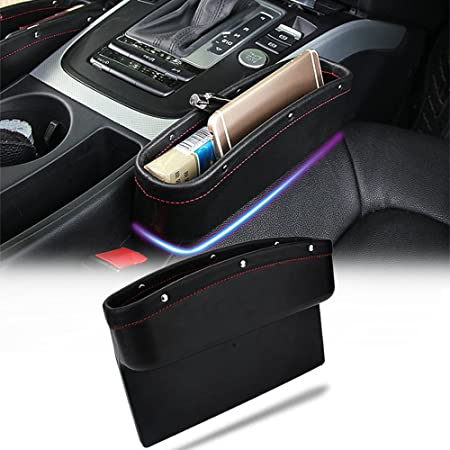 Universal-Autositz Seitenspaltf/üller PU-Leder auslaufsicher Aufbewahrungsbox Organizer Sitz Seite Drop Catcher Tray Sitz Spaltschlitz Taschen