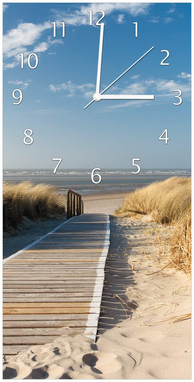 Wallario Design Wanduhr Auf dem Holzweg zum Strand aus Acrylglas, Größe 30 x 60 cm, weiße Zeiger