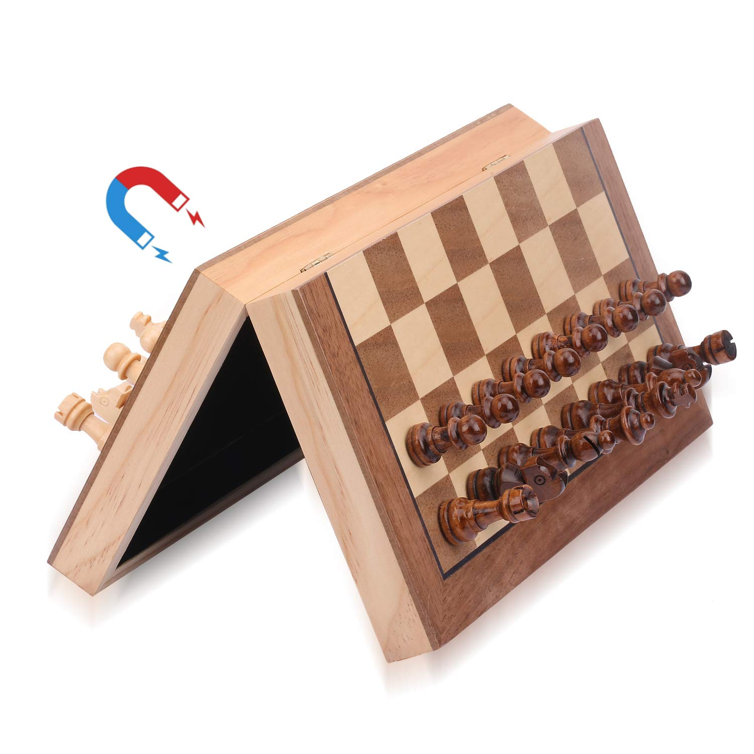 ColorGo Magnetic Wood Chess Set with Folding Chess Board,11.5x11.5 Inch Portable Travel Wooden Chess Game Set for Kids and Adults,Includes Extra Kings Queens by Sunwing