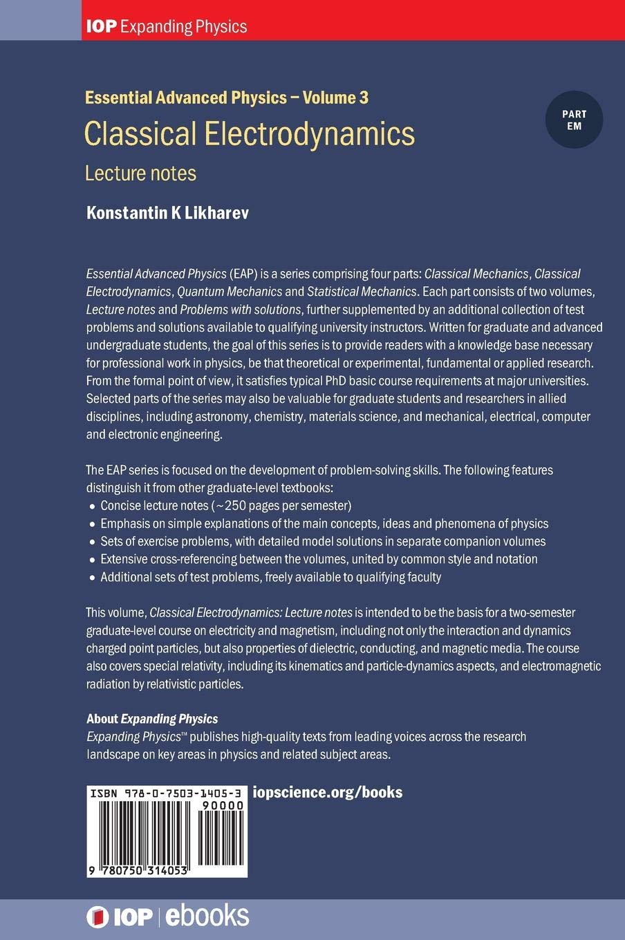 Classical Electrodynamics, Volume 3: Lecture notes (IOP Expanding