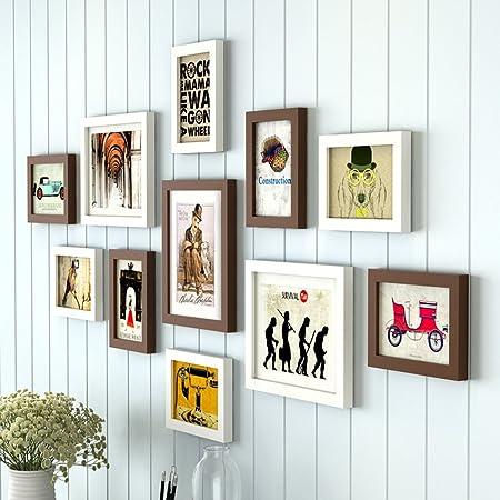 Marcos de fotos 11 Marco, Madera Maciza combinación Creativa Sala de Estar Escalera de Fondo decoración de la Pared (Color : Marrón): Amazon.es: Hogar
