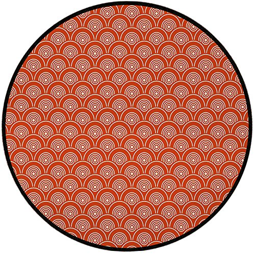 Kimono Lulu (Printing Round Rug,Geometric,Eastern Half Circle Pattern Abstract Geometric Shapes Design Japanese Kimono Mat Non-Slip Soft Entrance Mat Door Floor Rug Area Rug For Chair Living Room,Vermilion Cream)