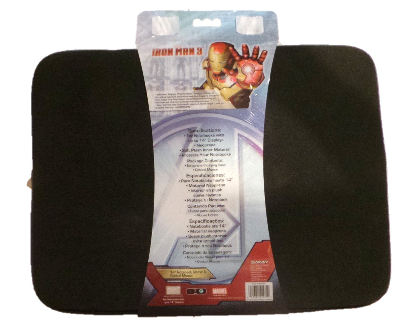 Amazon.com: Iron Man 3 Neoprene Sleeve with Optical Mouse Fits Up to 14 Inch Notebook or Tablet: Computers & Accessories