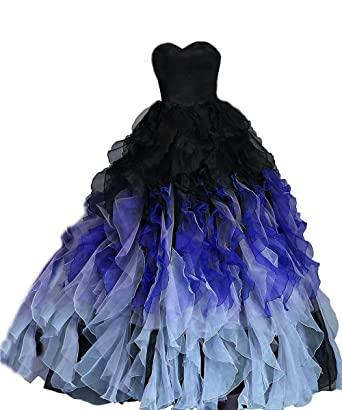 5b9e799371d FTBY Ball Gown Ombre Prom Dress Sweetheart Ruffled Quinceanera Dress Long  Strapless Organza Black Blue-
