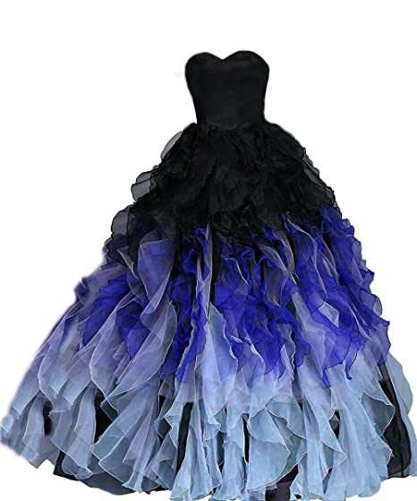 Ftby Ball Gown Ombre Prom Dress Sweetheart Ruffled Quinceanera Dress