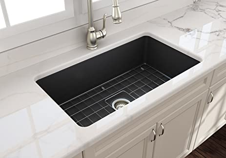 Sotto undermount fireclay 32 in single bowl kitchen sink with sotto undermount fireclay 32 in single bowl kitchen sink with protective bottom grid and strainer workwithnaturefo