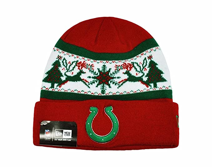 NEW ERA NFL Knit Fillz Indianapolis Colts Beanie Christmas Red ... 0988f9cf527