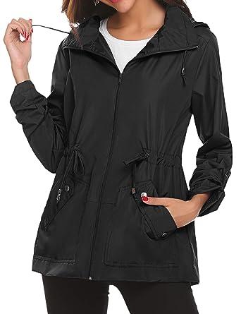 aa47b2dfbab Women s Waterproof Rain Jacket Lightweight Raincoat Outdoor Windproof Jacket  Hoodie Coats