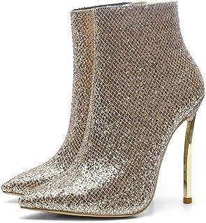 Stivali Da Donna 2018 Autunno Inverno Nuovo Oro Ferro Tacco Paillettes Stivali Moda Di Grandi Dimensioni