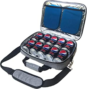 Red Suricata Insulated Slim Cooler - Thin, Flat Cooler Lunch Bag Fits 10 Drink Cans - 2 Slim Reusable Ice Packs Included - The Ultimate Cooler Bag for Beer, Hideaway Inside Backpack (Heathered Grey)