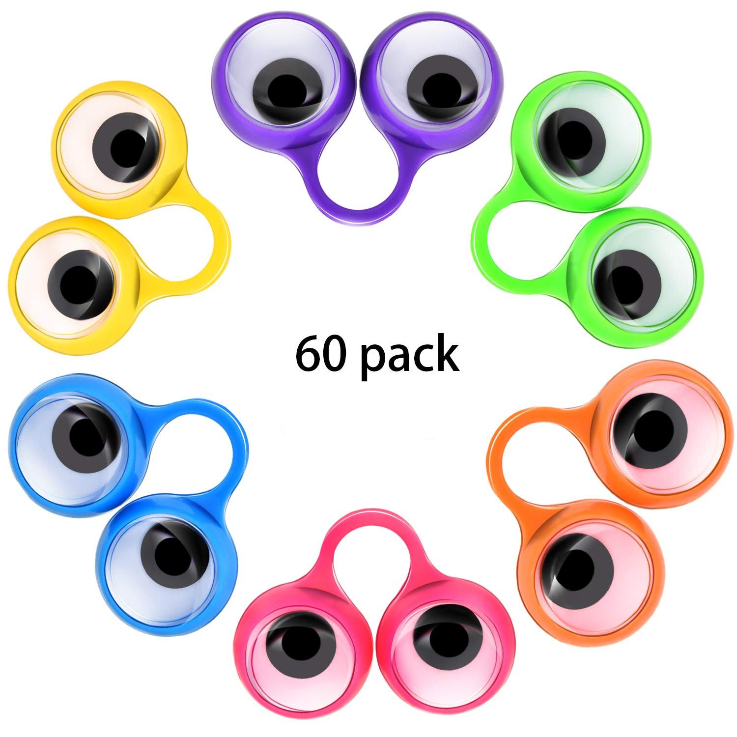 Scafiv 60 Pieces Eye Finger Puppets Googly Eyes Rings Eyeball Ring Finger Puppet Eyes Party Favor Toys for Kids, 6 Colors