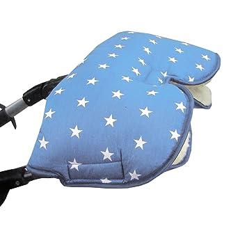 Bambini Mundo Muff con lana de cordero * Color Azul Claro con estrellas blancas * kuscheliger