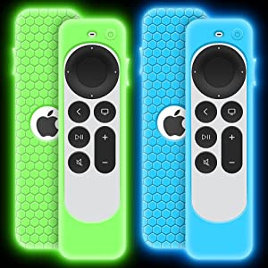 2 Pack Case for Apple TV 4K 2021 Remote Control, Protective Apple Siri Remote 2nd Generation/ Apple TV 6 Generation Cover Replacement Silicone New Sleeve Skin Holder Protector-Glow Blue, Glow Green