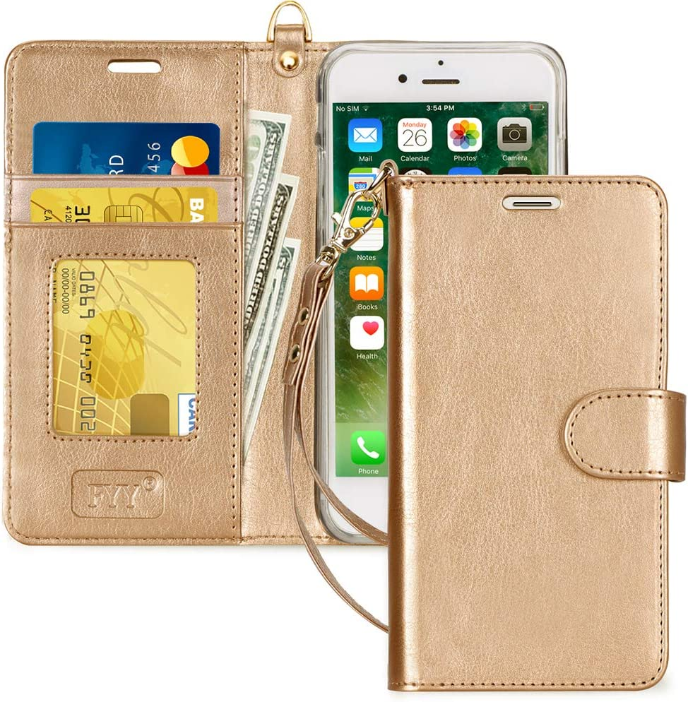 "FYY Case for iPhone 8/iPhone 7/iPhone SE (2nd) 2020 4.7""[Kickstand Feature] Luxury PU Leather Wallet Case Flip Folio Cover with [Card Slots][Wrist Strap] for iPhone 8/7/SE (2nd) 2020 4.7"" Gold"
