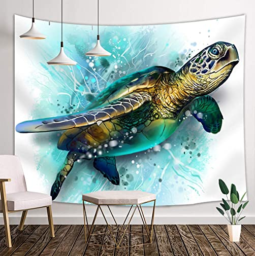 KOTOM Sea Animal Lover Tapestry Wall Hanging, Watercolor Brick Turtle Wall Tapestry Art, Tapestries for Home Decorations Dorm Decor Living Room Bedroom Bedspread, 80 X60 Multi8