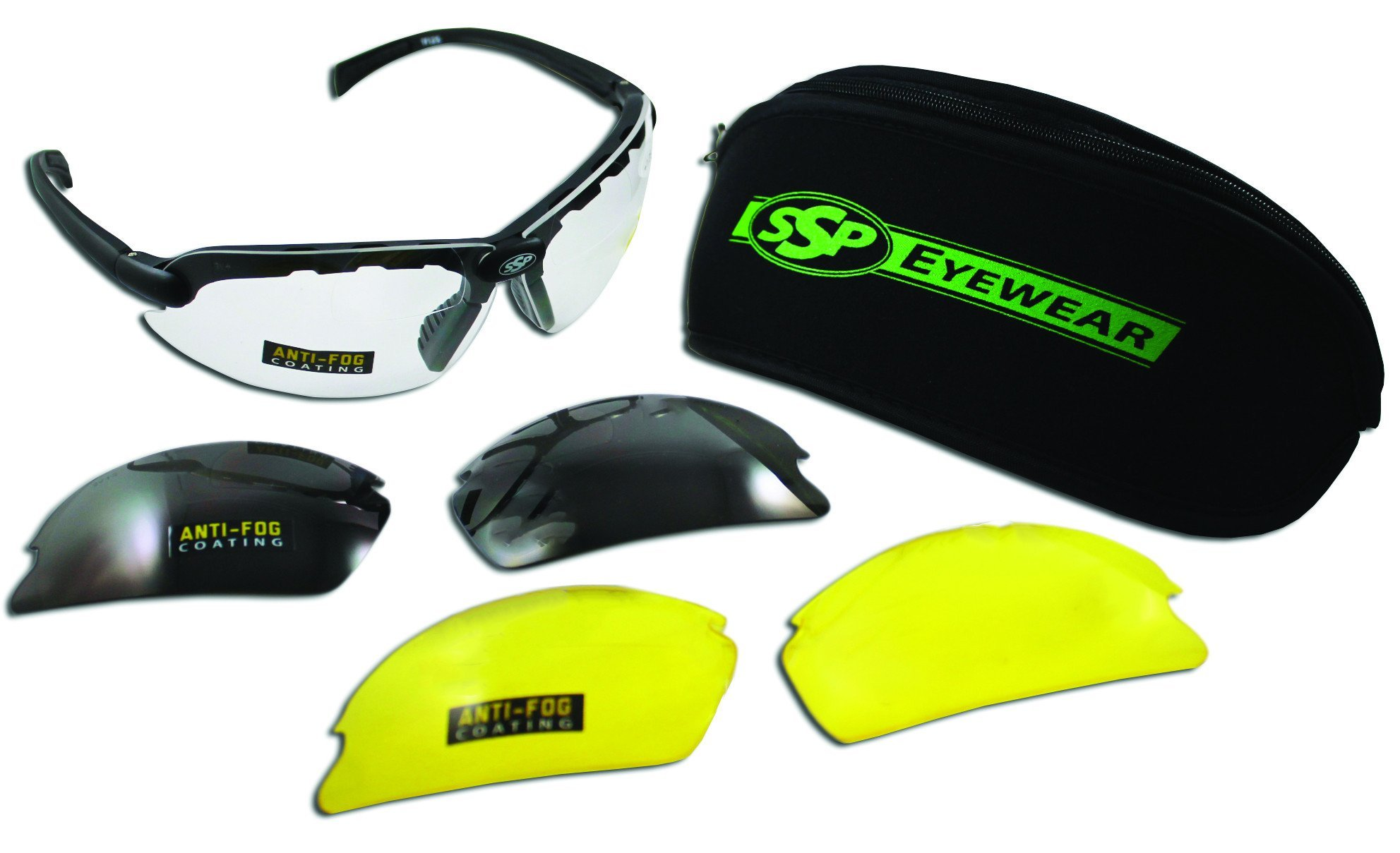 SSP Eyewear 2.00 Bifocal Shatterproof Shooting Glasses Kit with Assorted Color Lenses, DENIAL 2.00 by SSP Eyewear