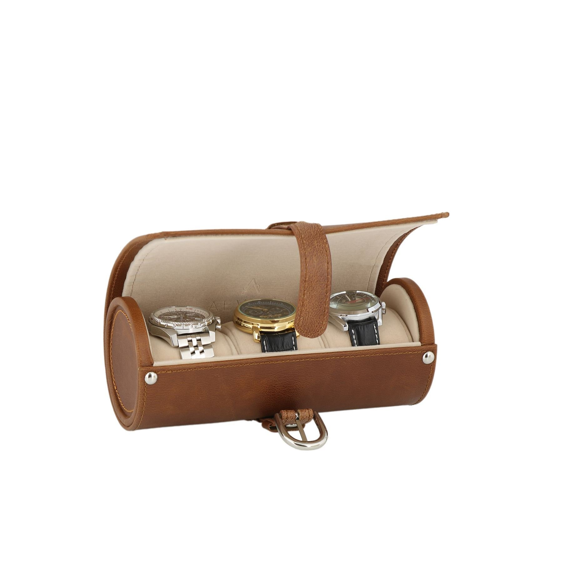 Genuine Brown Leather Watch Travel Roll 3 Watches Beige Velvet Lining by Aevitas