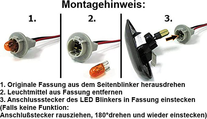 Led Seitenblinker Schwarz Smoke Paar Auto